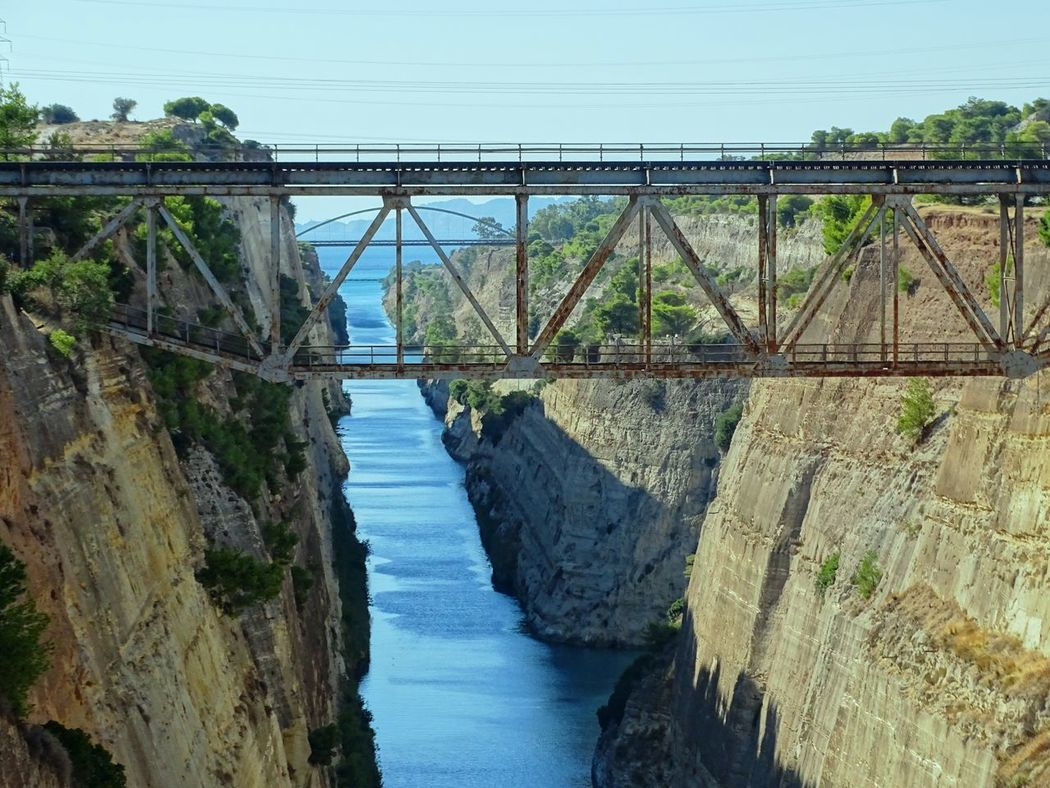 Korinthos Architecture Beauty In Nature Bridge Bridge - Man Made Structure Built Structure Clear Sky Connection Day Nature No People Outdoors River Scenics Transportation Tree Water