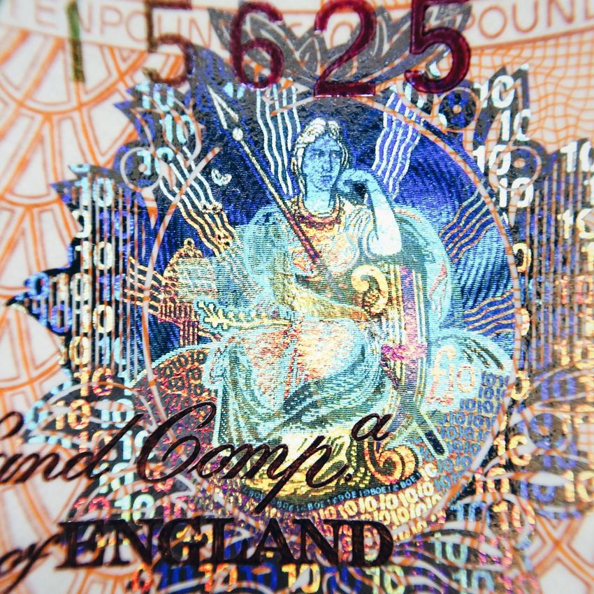 Bank note hologram Hologram Bank Note Money Brittania Abstract