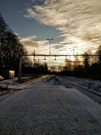 Railway Railway Track Railway Station Power Line  No People Electricity  Silhouette Electricity Pylon