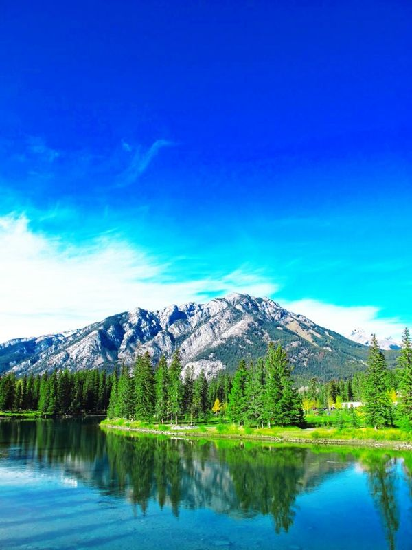 Banff  Banff National Park  Shallow Stream Reflection Nature Photography Beauty In Nature Alberta Canada Rocky Mountains Rockies Blue Sky