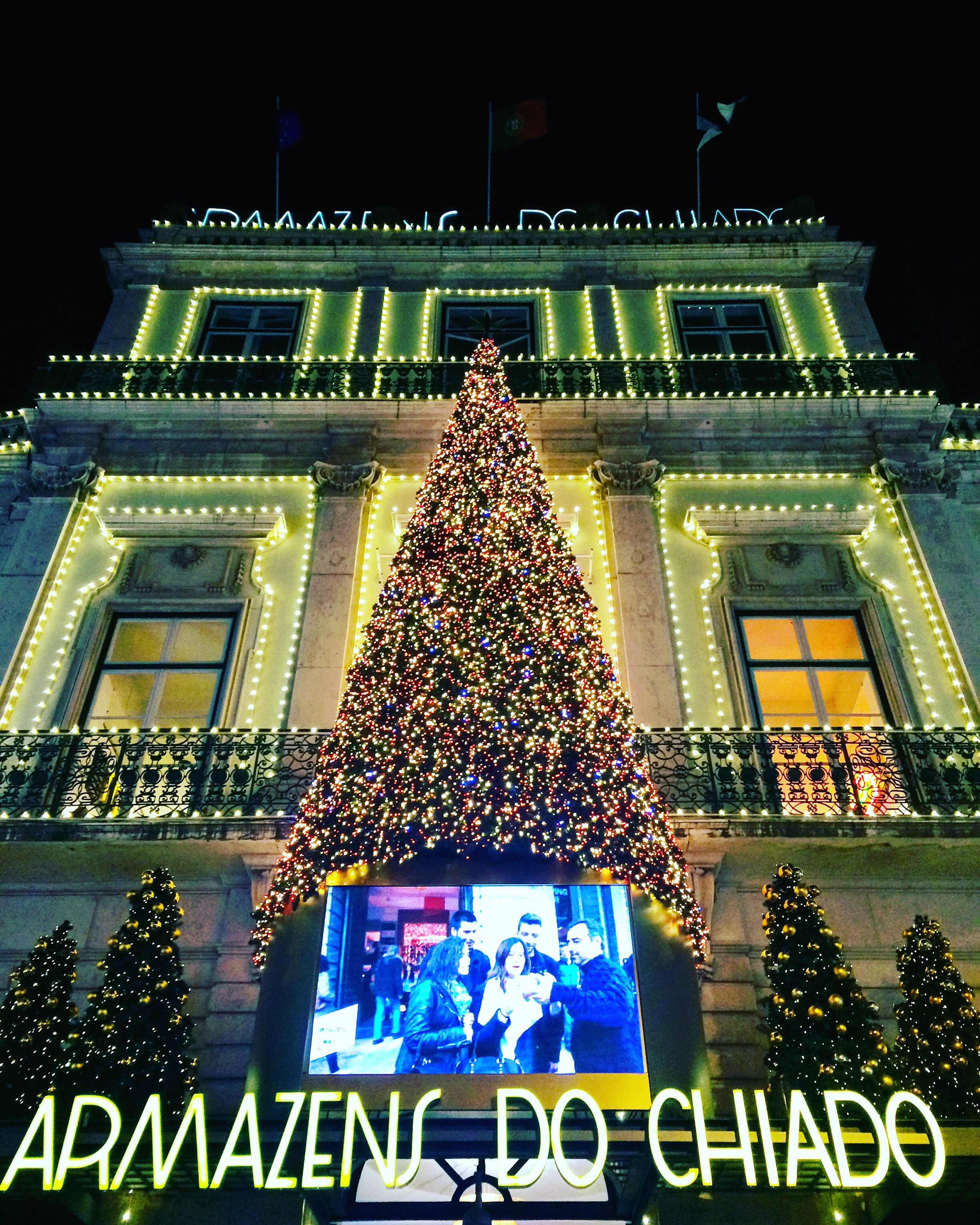 celebration, illuminated, night, travel destinations, built structure, building exterior, architecture, christmas lights, low angle view, no people, sky, outdoors