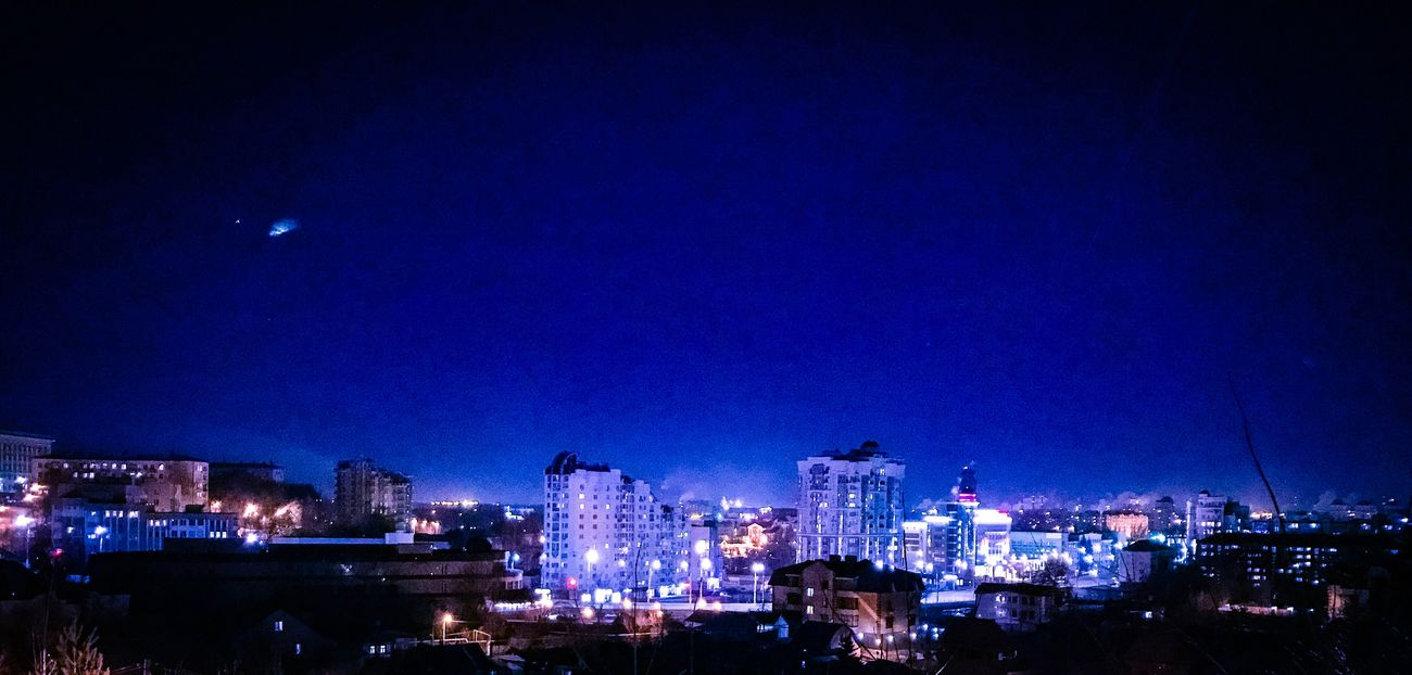 Night Blue Illuminated City Building Exterior Architecture Sky Built Structure Cityscape No People Outdoors Moon Urban Skyline Skyscraper Nature липецк Lipetsk