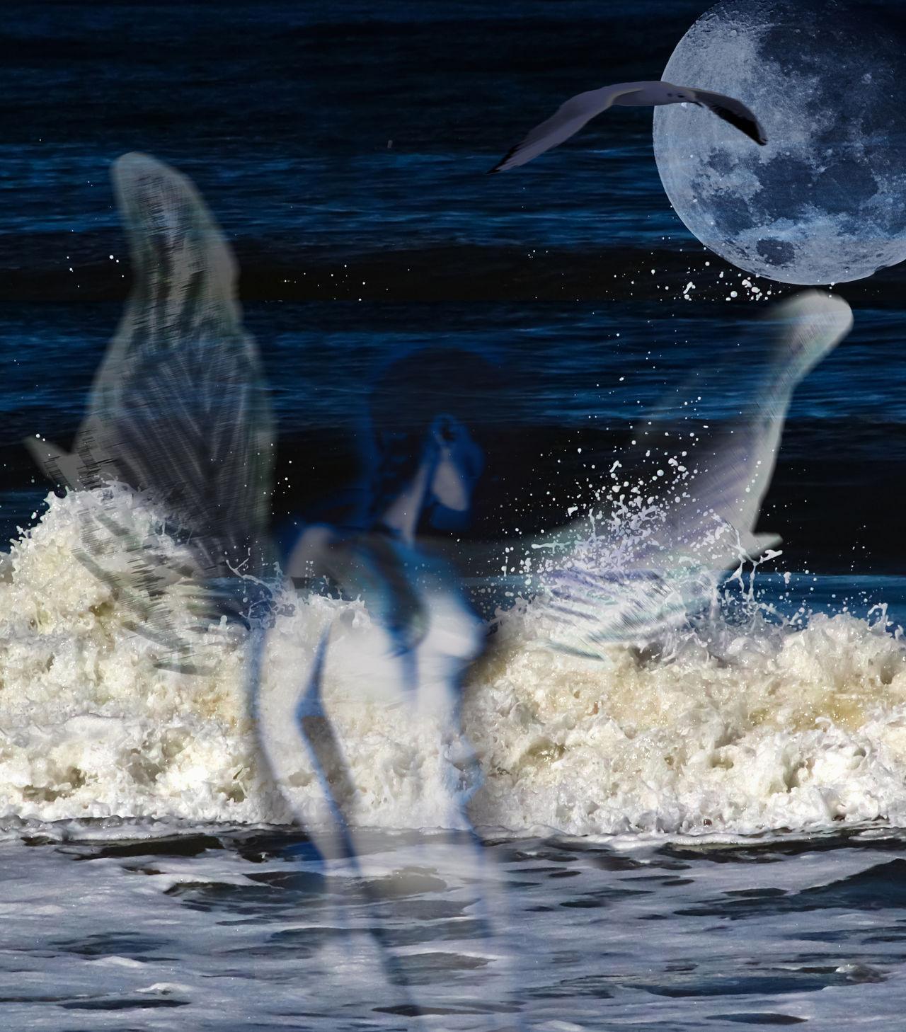 Angel Angel Bathing Angel Wings Digital Art Moon Moonlight Motion Sea Splashing Water Wave