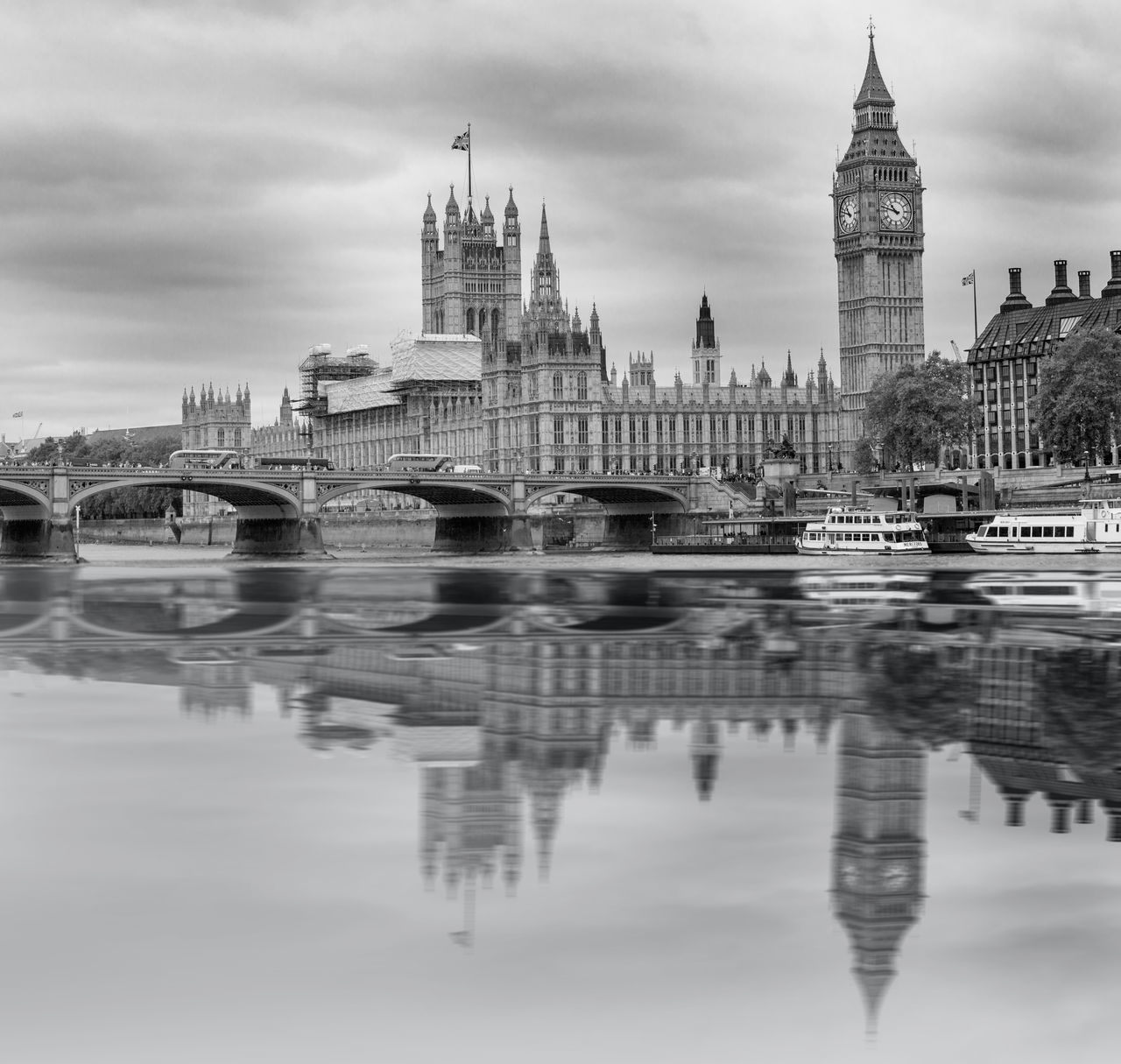 Big Ben and Houses of parliament with good reflection on the Thames in monochrome Architecture Big Ben Building Exterior Built Structure Capital Cities  City City Life Clock Tower Famous Place Houses Of Parliament International Landmark Monochrome Parliament Building Reflection River Thames River Tourism Tourism London Travel Travel Destinations Water Waterfront