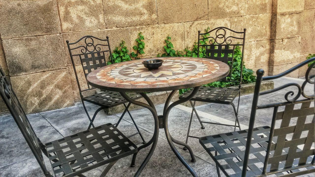 Table Chair No People Outdoors High Angle View Poble Espanyol Poble Español Montjuic Break Teatime Mosaic Tiles Mosaic Mosaics Mosaic Art Leisure Time Leisure Pause Sitting Resting EyeEmNewHere Lieblingsteil