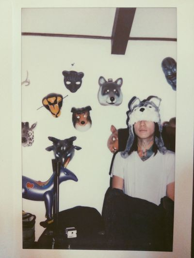 🐺 🦊 🐯 🦌 | Indoors  Adults Only Inspiration Young Adult Instant Instantphoto Instax Masks Animal Mask Wolfie Instant Photo Fujifilm Fuji Instax Film Film Photography Animal Spirits EyeEmNewHere This Week On Eyeem People Adult Flash Candid Moments Portrait Man Hip