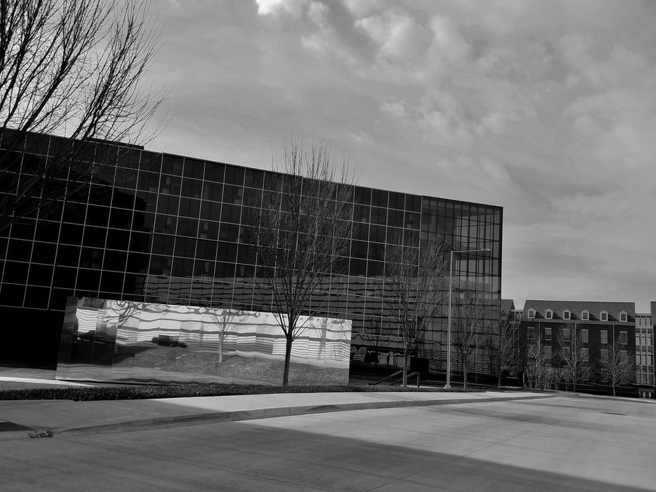 B&W Architecture Architecture Black And White Collection  Building Exterior Built Structure Cityscape Cloudy Skies Day Glass Building Modern MUR B&W No People Outdoors Reflection Sky Welcome To Black