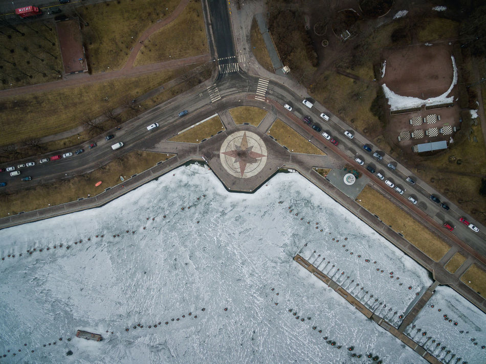 Drone shots from Helsinki on 24th of March 2017. Aerial View City City Life Clock Day Dji Drone  Flying High Helsinki High Angle View House Lights Living No People Outdoors Spring Top Perspective Top View Winter