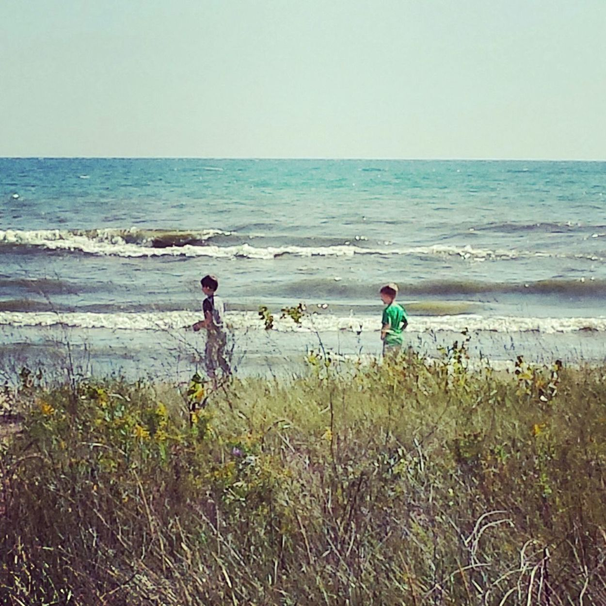 Boys, brothers, best buds, exploring beach on Lake Michigan Boys Brothers Best Friends Dunes Lake Michigan Kohler-Andrae State Park Lakeshore Beach Water Waterfront Waves Waves Crashing Waves, Ocean, Nature Playing Running Boys Running Summer Summertime