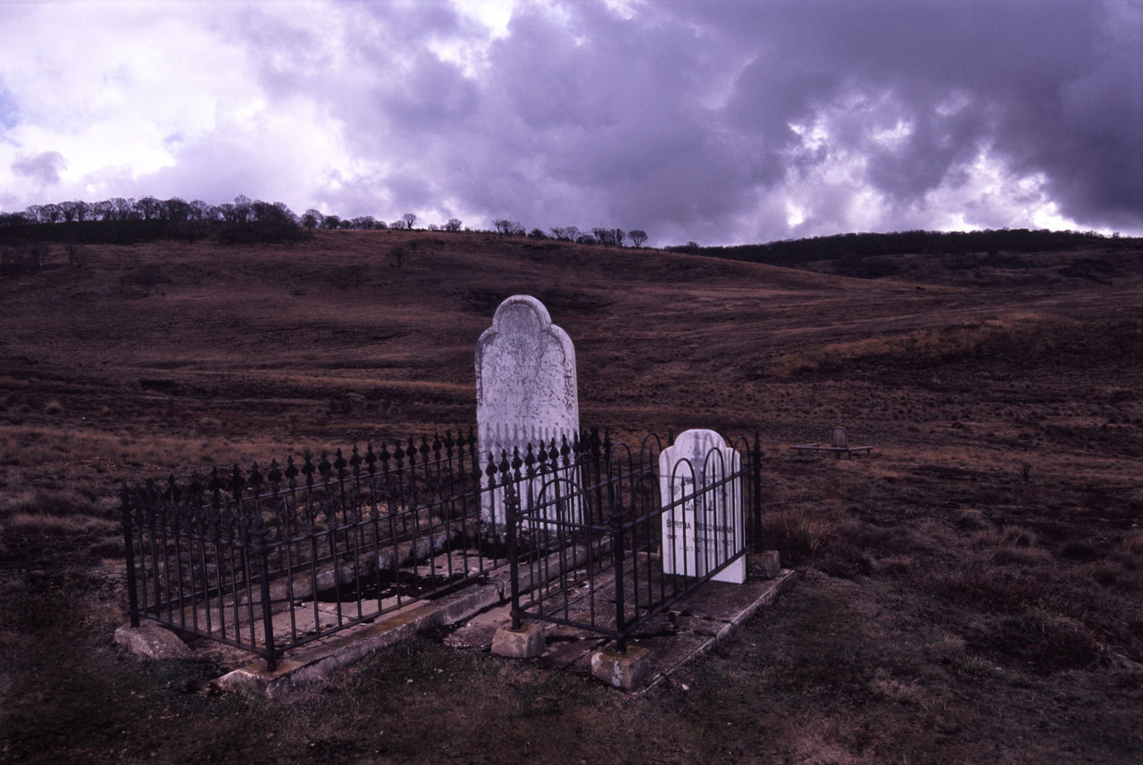 graves of gold miners, snowy mountains, victoria. Australia Burial Cemetery Chinese Chinese Thombstone Dead Fence Grass Grave Graves Headstone Landscape Memorial Outdoors Storm Victoria