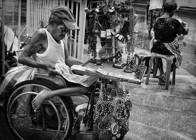 Daily Life Series, Manila Bicycle Casual Clothing City City Life Day Disabled Full Length Land Vehicle Leisure Activity Lifestyles ManilaStreetPhotography Mode Of Transport Outdoors Person Pwd Riding Road Transportation Vendors