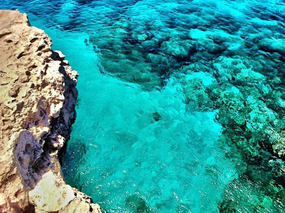 This water was so clear. High Angle View Water Beauty In Nature Sea Blue Nature Scenics Tranquil Scene Tranquility No People Day Outdoors EyeEm Nature Lover Nature_collection Eye4photography  IPhoneography Shades Of Blue Cape Greco Cyprus
