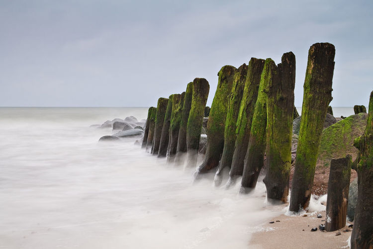 Groyne on shore of the Baltic Sea. Baltic Sea Beach Beauty In Nature Calm Day Groyne Horizon Over Water Idyllic Kühlungsborn Majestic Moss Nature No People Non-urban Scene Outdoors Rock - Object Rocky Scenics Sea Shore Sky Solitude Tranquil Scene Tranquility Water