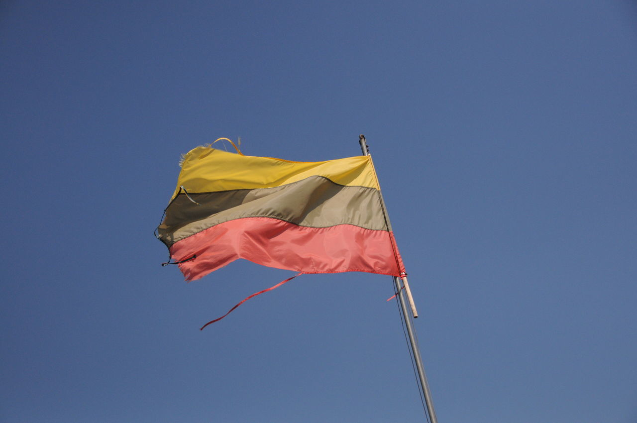 Day Flag Flags In The Wind  Lithuania Lithuania Flag Low Angle View No Clouds No People Outdoors Sky Wind