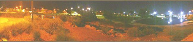 Panorama at Gilbert park after dark Gilbert Discoverypark Discovery Distict Park Discovery Park AZ Water Reflections Night Photography Rare View