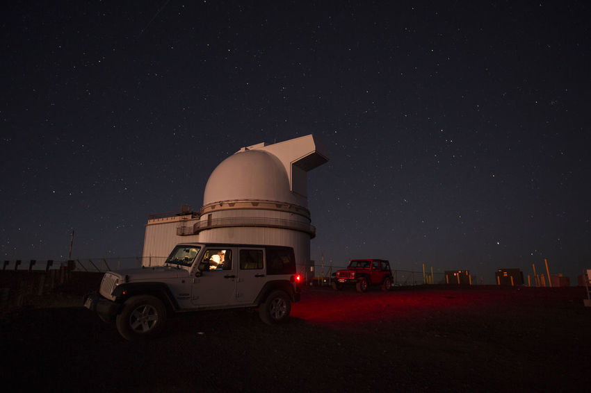 Mauna Kea Observatory with 4WD car in front Mauna Kea Night Photography Observatory Adventure Architecture Astronomy Astronomy Telescope Building Exterior Built Structure Car Dome Illuminated Night No People Outdoors Road Trip Sky Star - Space Stars Summit Sunrise Sunset