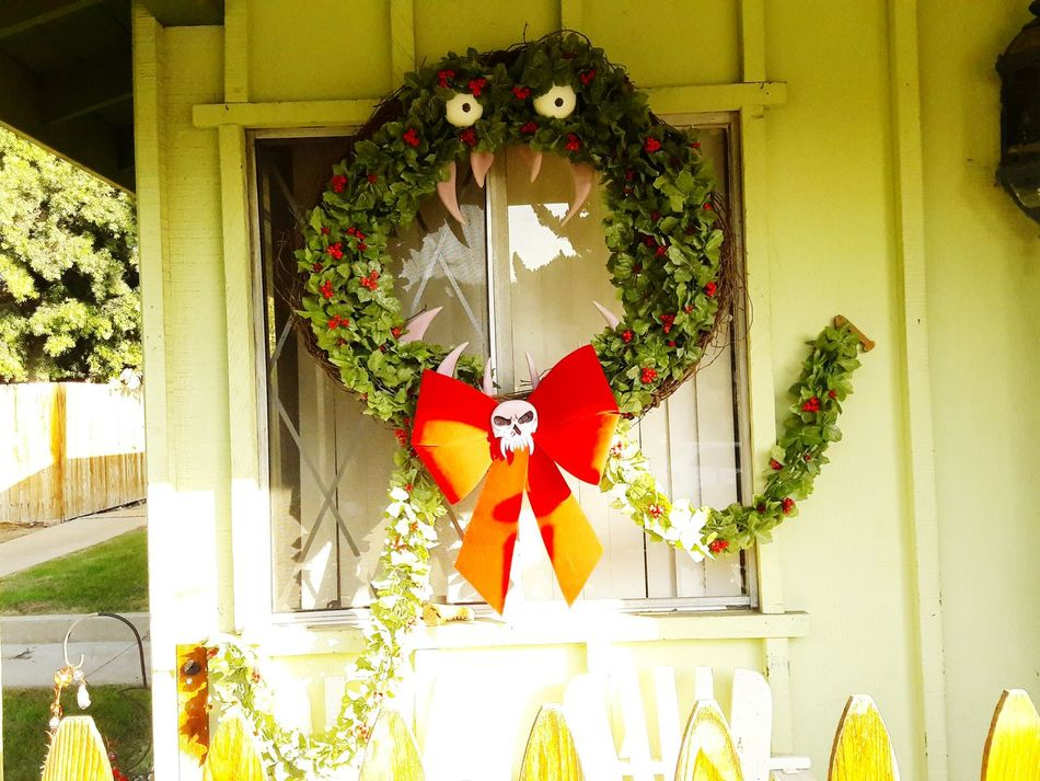 Christmas Celebration No People Hanging Holiday - Event Christmas Decoration Tradition Wreath Outdoors Christmas Tree Day DIY Nightmarebeforechristmas Homemade Man-eating Wreath