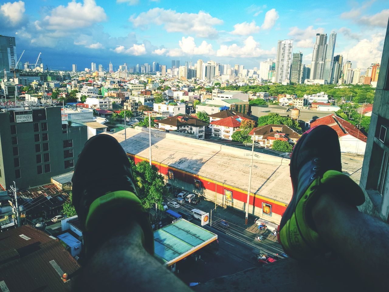 Out Of The Box Human Body Part Limb Low Section Human Leg Personal Perspective Cloud - Sky Human Foot Shoe Human Hand Human Arm People High Angle View Adult Only Men Adults Only Men Cityscape Lifestyles Point Of View Real People EyeemPhilippines