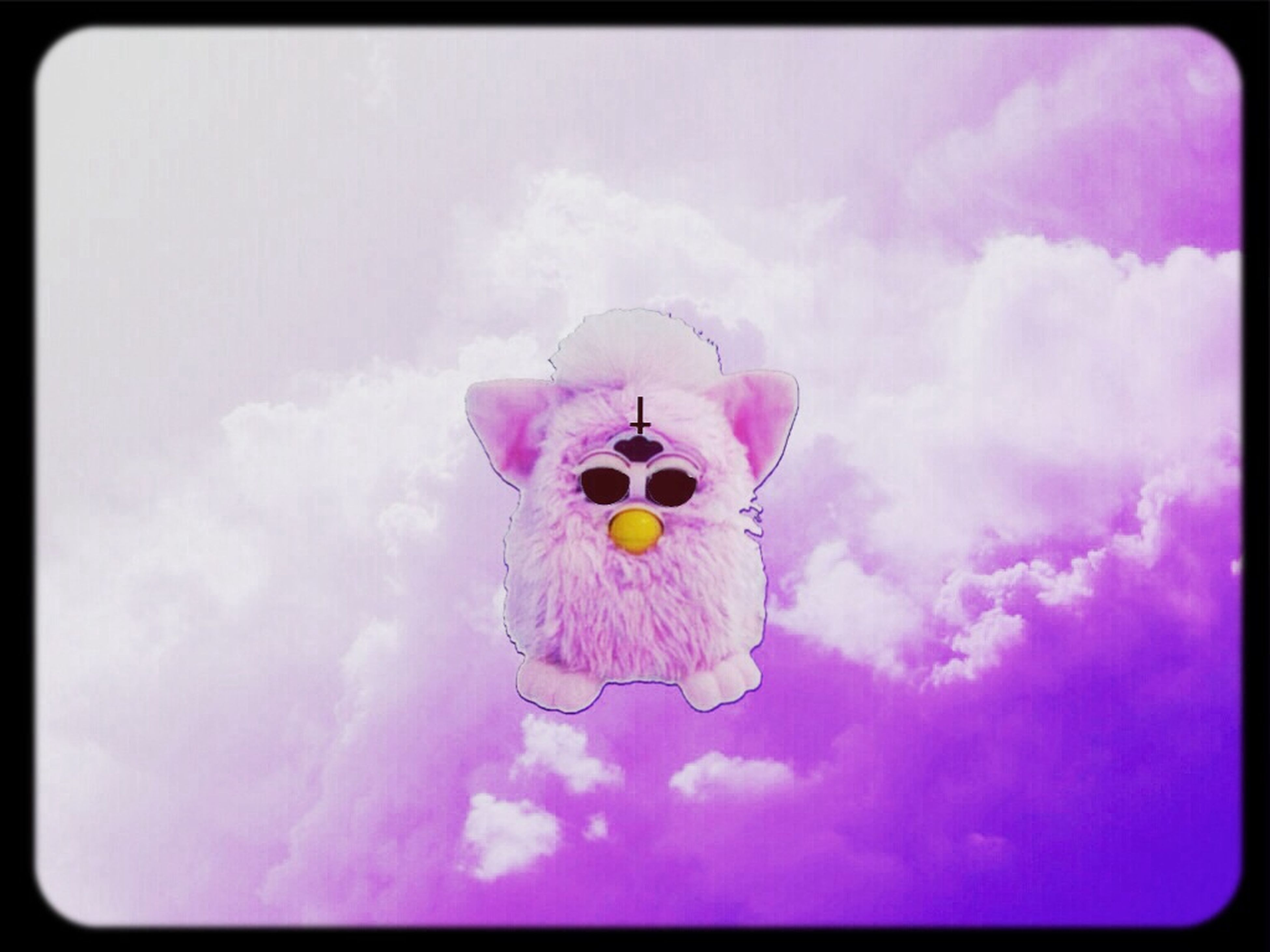 transfer print, auto post production filter, flower, sky, cloud - sky, beauty in nature, nature, low angle view, no people, blue, one animal, animal representation, day, petal, outdoors, toy, fragility, yellow, purple, multi colored