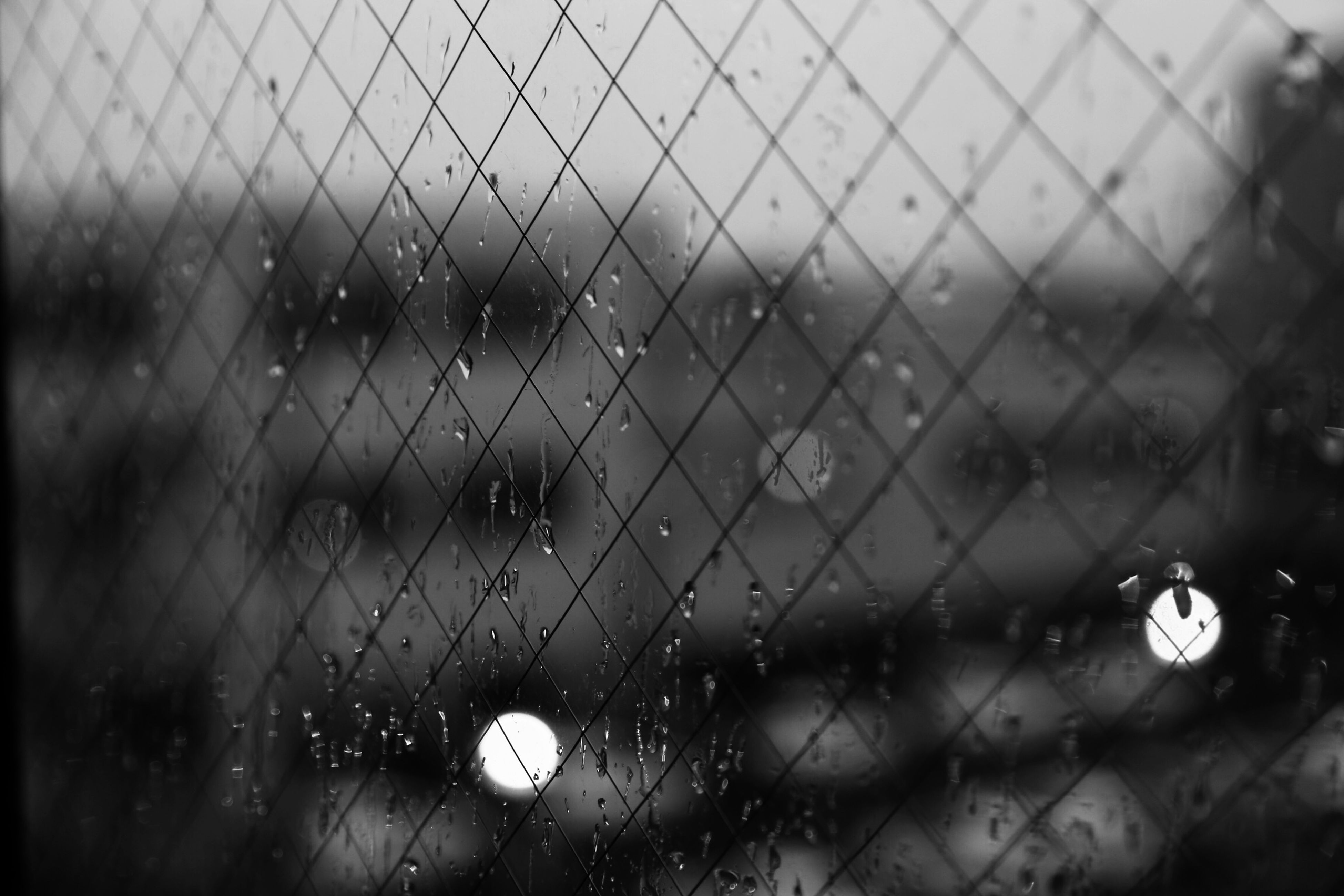 drop, full frame, chainlink fence, wet, focus on foreground, backgrounds, fence, rain, protection, safety, window, water, close-up, glass - material, pattern, security, raindrop, metal, indoors, transparent