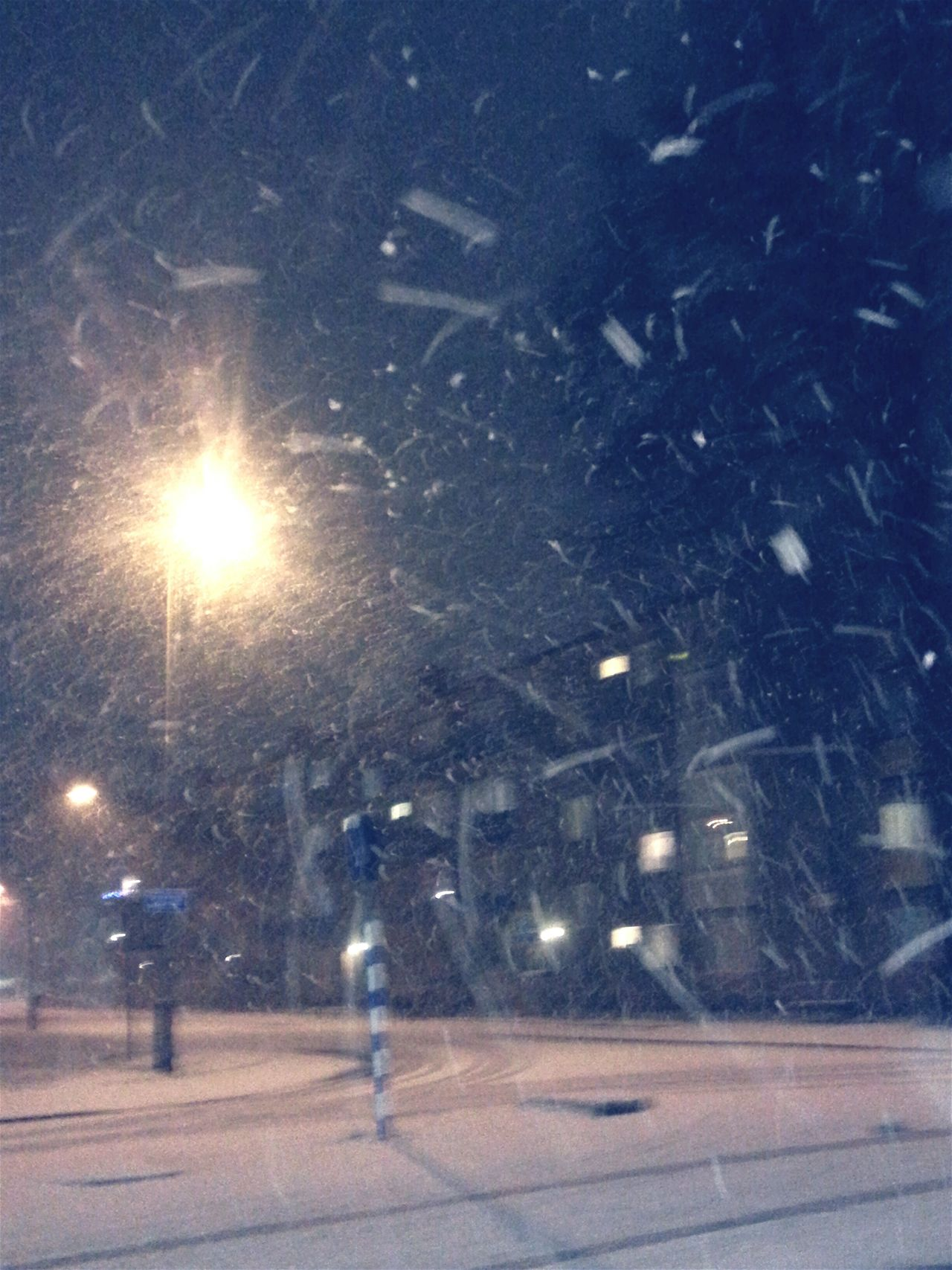 It's Cold Outside Storm Gorm Crossroadlight In Snowy Night