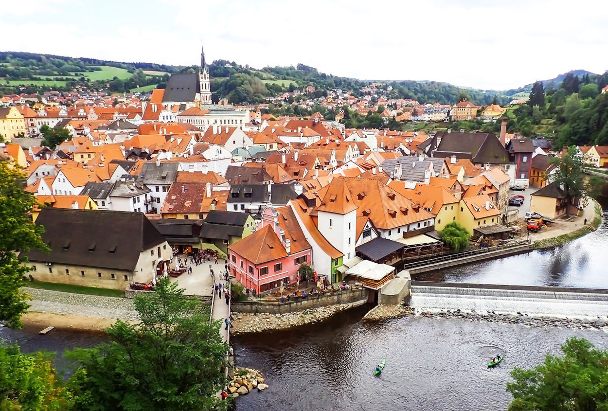 Czech Republic Arched Roof Architecture Building Exterior Built Structure Charming City Cityscape Crowded Day High Angle View Mountain Nature Outdoors Red Roofs River Roof Sky Tiled Roof  Town Tree Water Český Krumlov