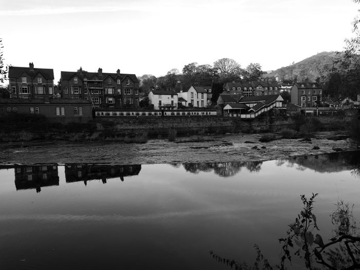 Reflection Water Sky Building Exterior Outdoors Tree Nature No People Day Transport Transportation Llangollen Railway Station River Dee  River Black And White Photography Architecture Built Structure Black And White Collection Llangollen Tranquil Scene Reflection Castell Dinas Bran Dinas Bran Llango