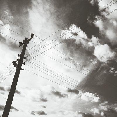 Sky Clouds Electricline Blackandwhite
