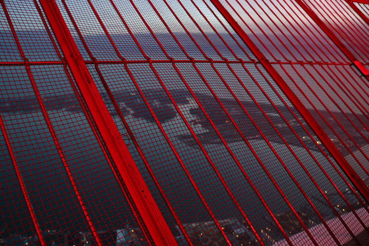 pattern, red, full frame, no people, day, low angle view, illuminated, built structure, outdoors, architecture, line, close-up