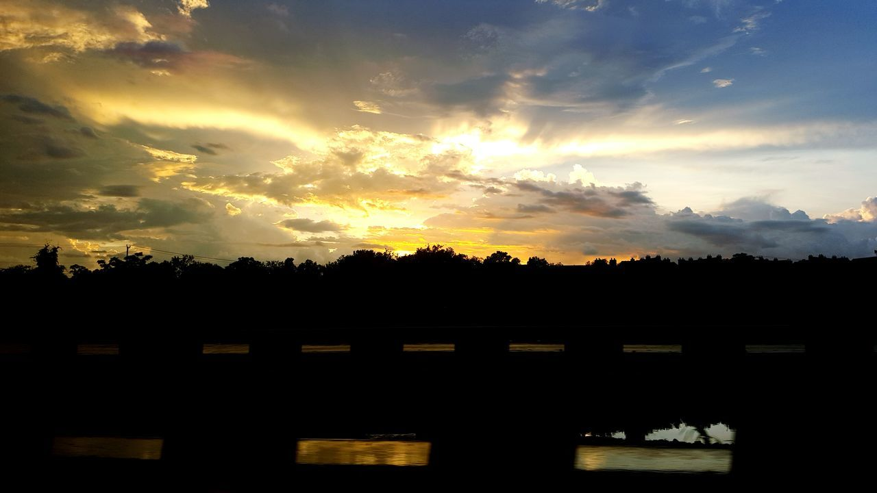 silhouette, sunset, sky, cloud - sky, no people, nature, beauty in nature, tree, yellow, scenics, outdoors, architecture, day