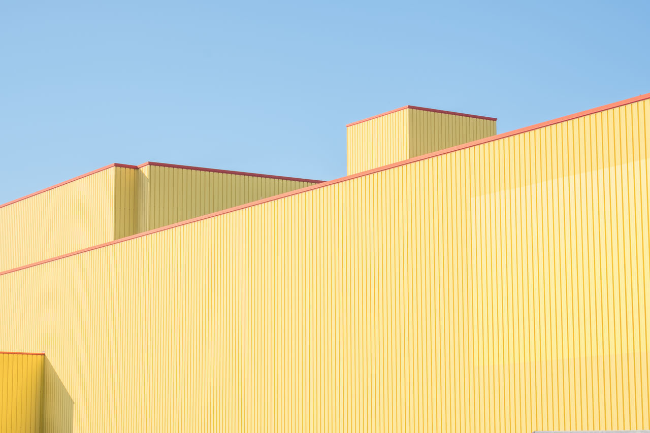 abstract Architecture building exterior building feature built structure Clear sky day Industry Low angle view Minimalist Architecture no people outdoors sky yellow