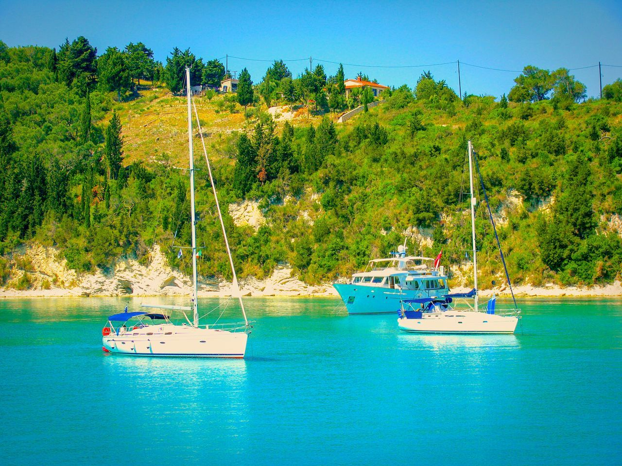 Boats Sailboats Sea Paxi Island Greek Islands No People Crystal Clear Waters Sea Boats And Sea Bay Summer Memories 🌄 Summer Views Summer Is Coming Shades Of Blue Seaside Seashore Blue Sea Trees And Water Tranquil Scene Tranquility Trees Trees And Sea Blue Wave The Essence Of Summer