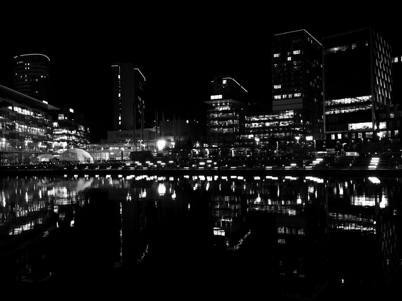 Media City Night Lights. Embrace Urban Life Reflection Architecture Night Water Building Exterior Illuminated City Built Structure Travel Destinations Sky Waterfront No People Outdoors Night Lights Silhouette Architecture EyeEm Gallery Mediacityuk Salford Quays EyeEm Masterclass Getty X EyeEm Skyscraper Cityscape Urban Skyline