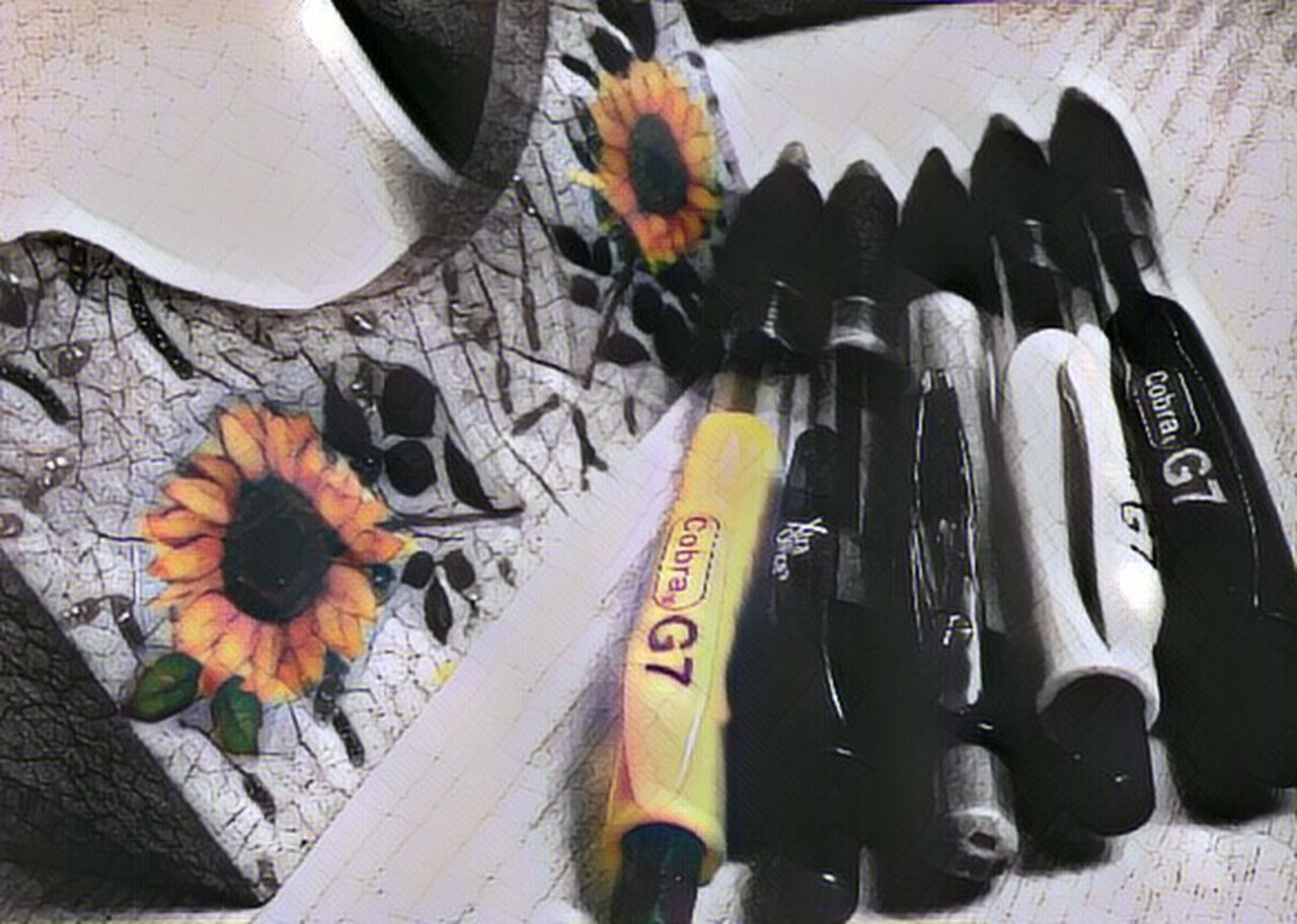 Beautifully Organized Color Splash Minimalistic Writing Time Hand Writing Pen BlankAndWhiteButNot  Black And White Yellow They All Yellow