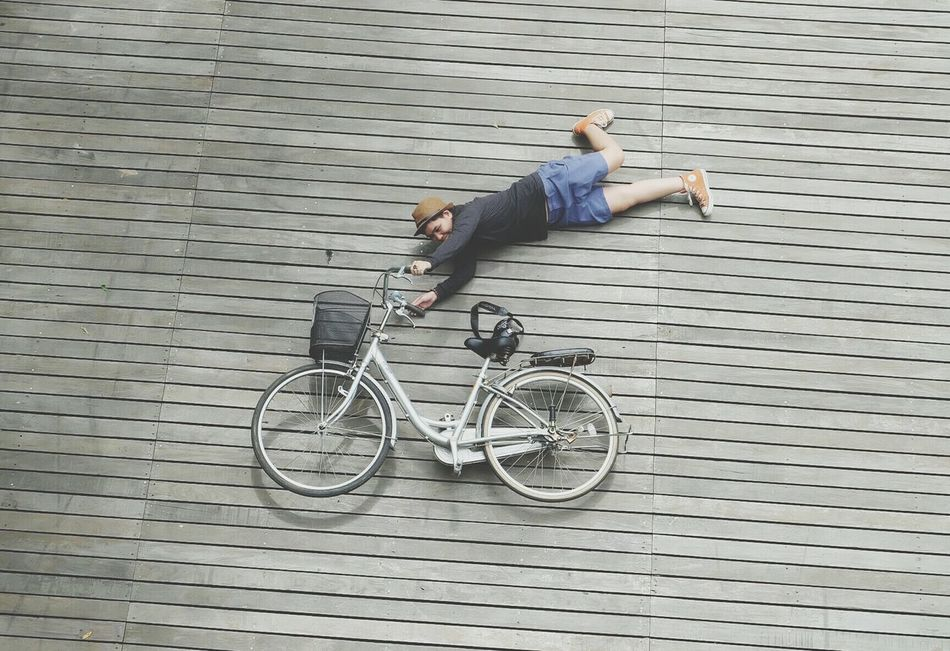 Beautiful stock photos of fahrrad, full length, directly above, one person, high angle view
