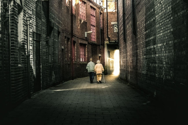 A Walk Through Time. Taken in Carlisle city centre, Cumbria, UK Architecture City Life Walking Person Alley Street Old Age Love