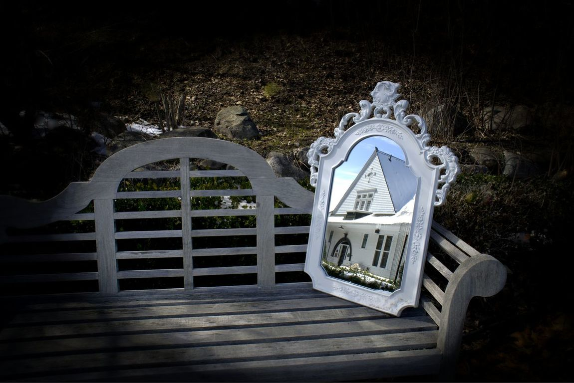 Charlevoix D Day Empty Have Mirror, Will Travel... Historical Museum Mirror Nature No People Outdoors Seat Tranquility Wood - Material Fine Art Photography
