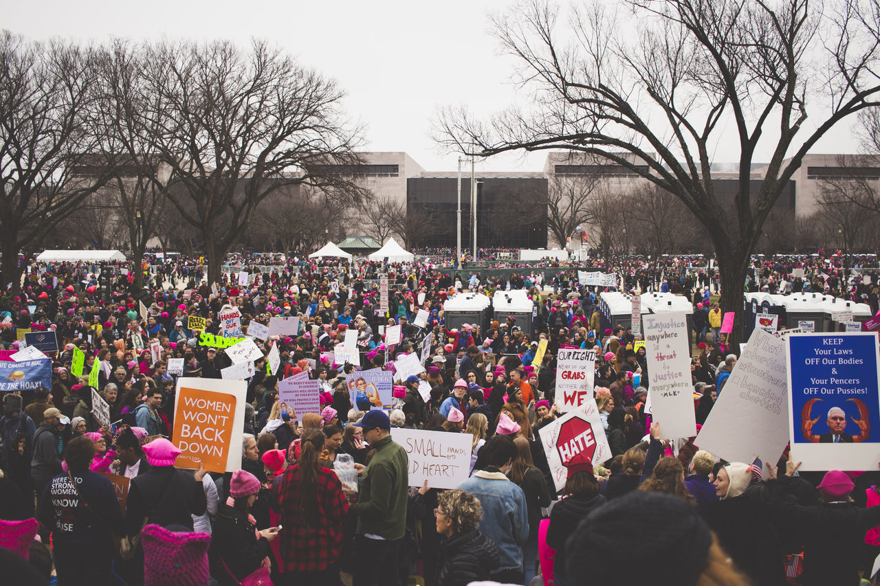 The Women's March on Washington - January 21st 2017 Anti Trump Editorial  Equality Female Girls Liberal March Marching Message Monument Movement Pink Hat Politics Positive Protest Protesters Rights Signs Washington Washington DC Washington Monument White House Women Womens March Womens March DC