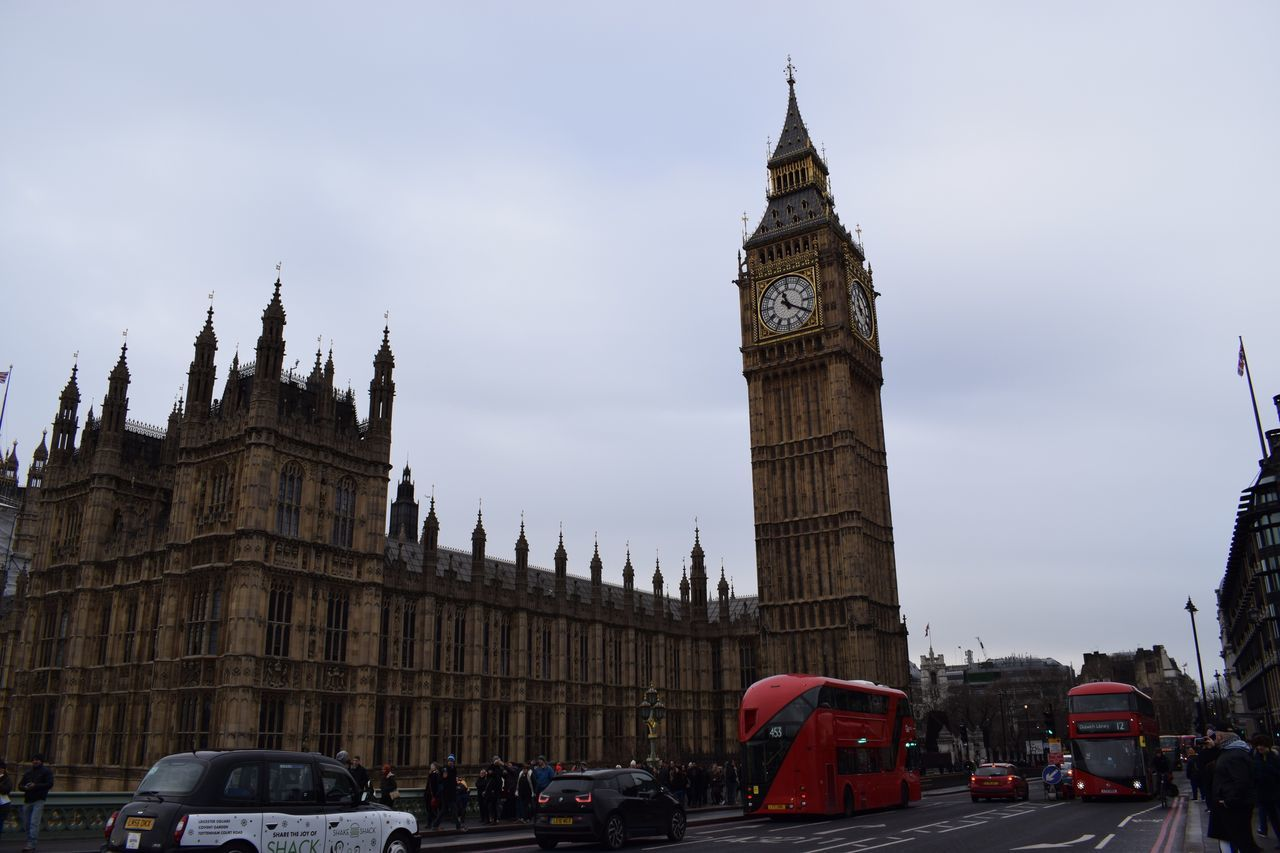 Architecture Clock Tower Building Exterior Tower Built Structure Travel Destinations Clock Sky Transportation City Travel Cultures City Life Outdoors Cloud - Sky Government Time Day No People London Bigben Adapted To The City