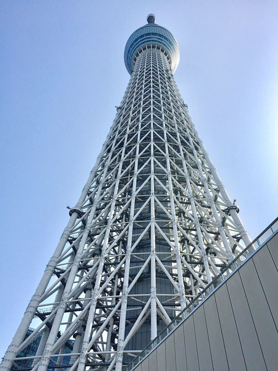 Tokyo Sky Tree 634m📡 Tokyo Japan IPhone Photography Radio Tower Low Angle View Tall - High Architecture Built Structure Tower Clear Sky Tokyo,Japan Building Exterior Towers And Sky Landmark City Tokyoskytree Sky Looking Up Japanese Style Capital Cities  Sunny Sightseeing Spot スカイツリー 東京