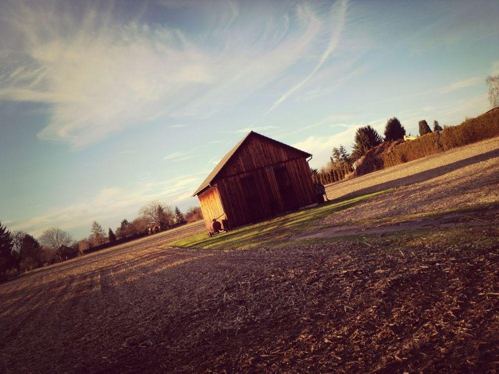 Running Barn Countryside Blue Sky