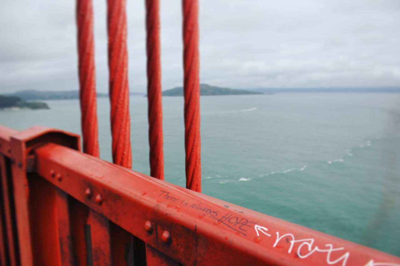 San Francisco Golden Gate Bridge Hope Grafiti Art Grafiti WestCoast Travel California Northern California SF No People Travel Shots Tranquility Bay Area Optimism There Is Always Hope Red Sea Sky Horizon Over Water Outdoors Water Ocean City By The Bay Cloudy