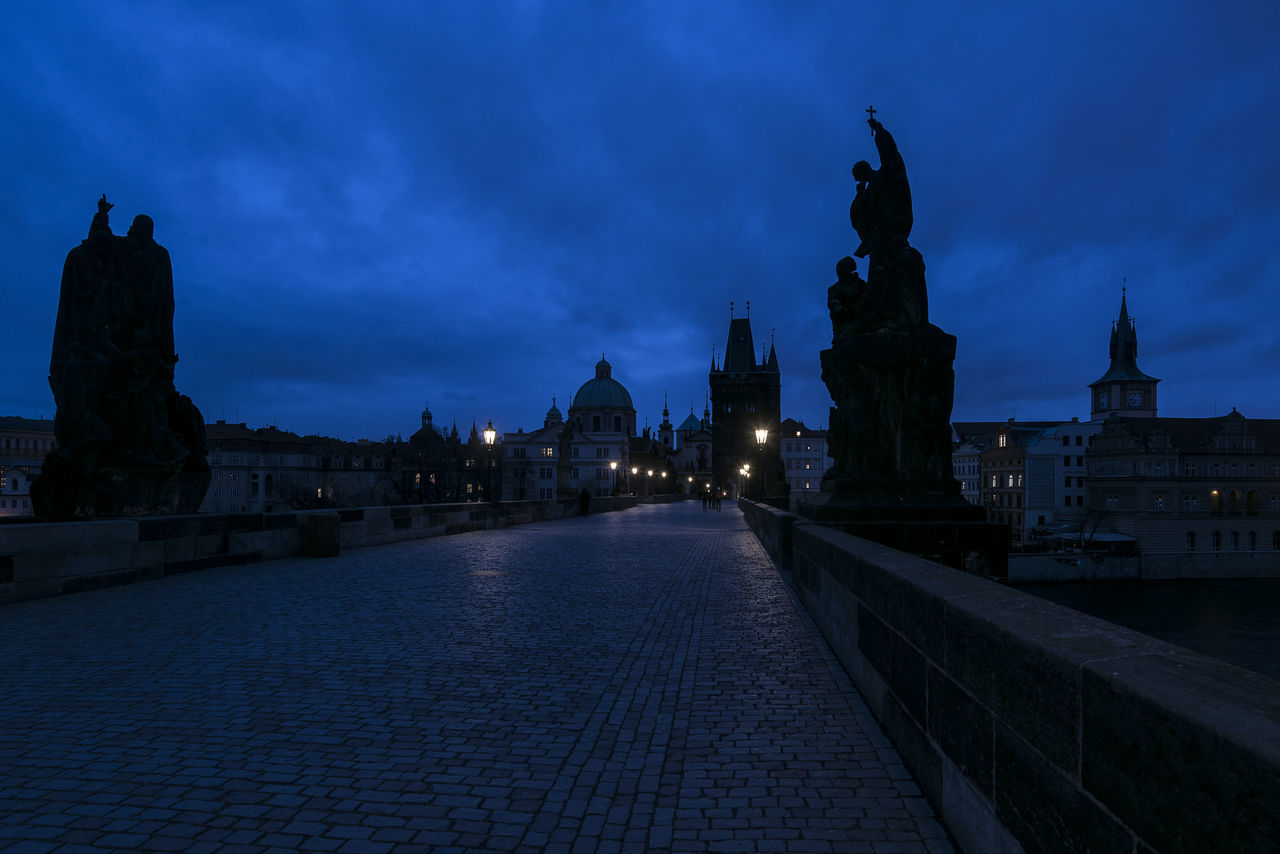 Architecture Before Sunrise Blue Hour Bridge - Man Made Structure Building Exterior Built Structure Charles Bridge City Cityscape Cloud - Sky Day Break Dome Dusk Illuminated Night Outdoors Prague River Silhouettes Sky Streetlight Sunset Tower Travel Destinations Urban Skyline