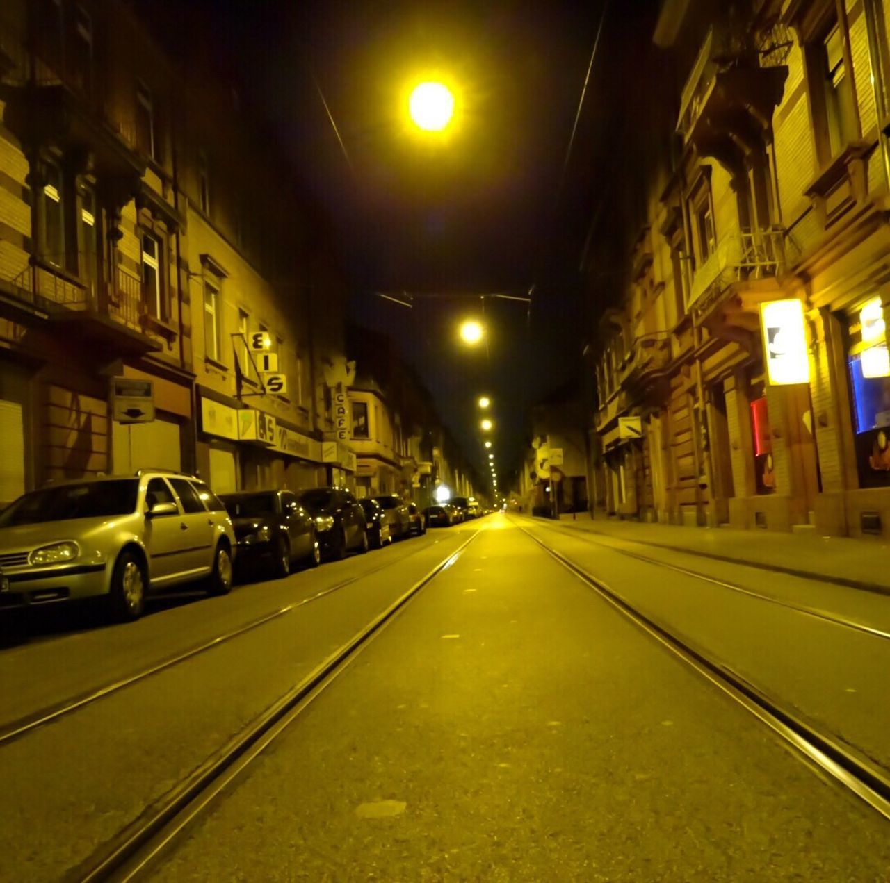 Sleeplessnights  Illuminated Transportation Night Architecture Built Structure Car No People Land Vehicle Building Exterior Mannheim Activity Germany Mannheim The Way Forward Road Outdoors Street Empty