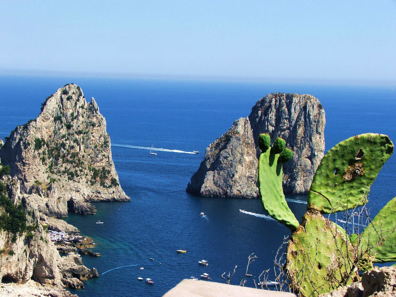 Green Coast Horizon Over Water Beach Beauty In Nature Travel Destinations Naples, Italy Power In Nature Island View  Travel, Rocky, Bright, Sunshine, Nature No People Capri, Boat Water