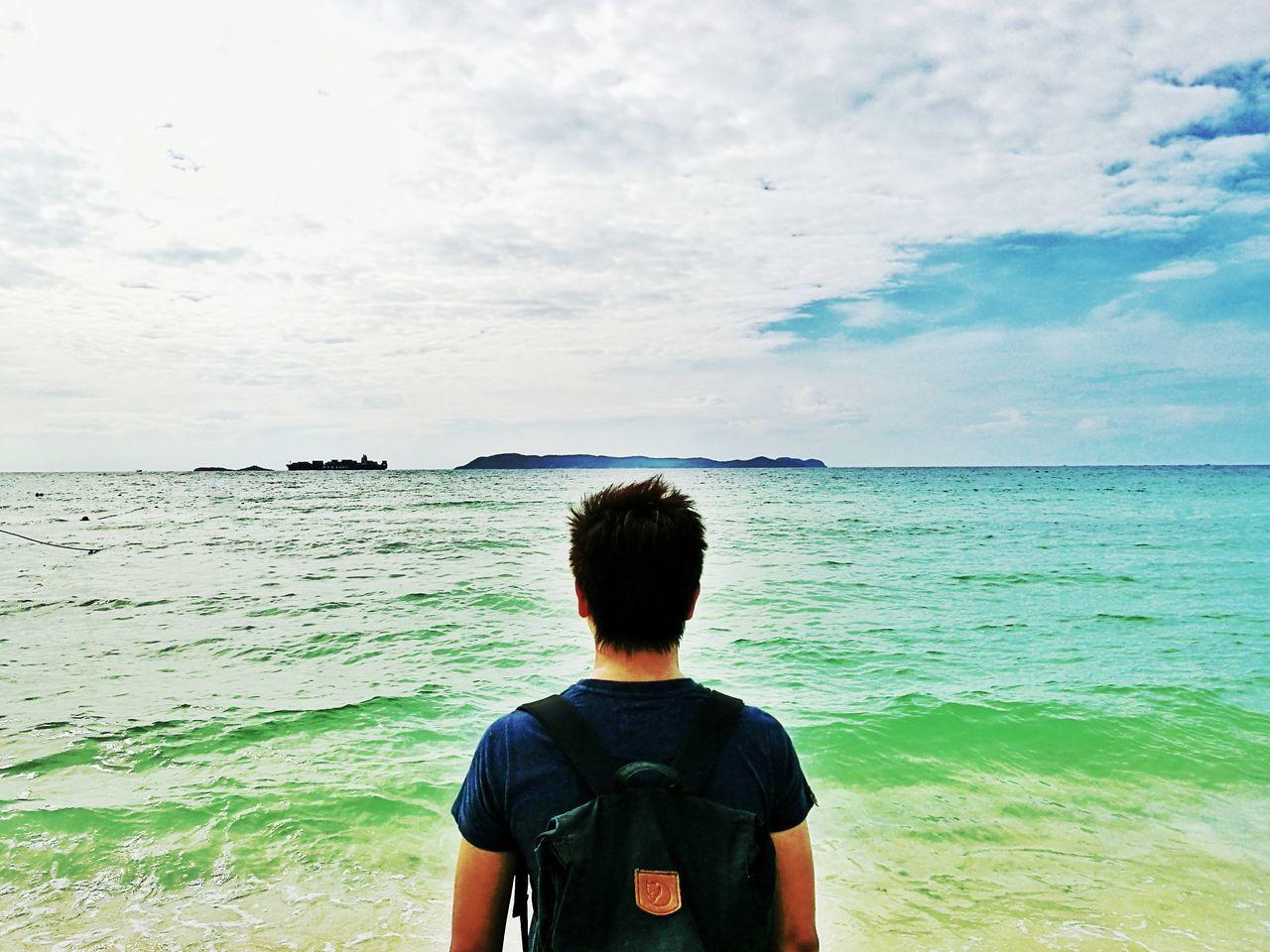 Beautiful stock photos of sonnenschein, rear view, sea, beach, one person
