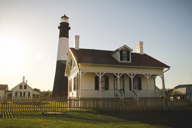 Architecture Building Exterior Built Structure Evening Light Lighthouse Low Angle View No People Outdoors Tybee Island GA