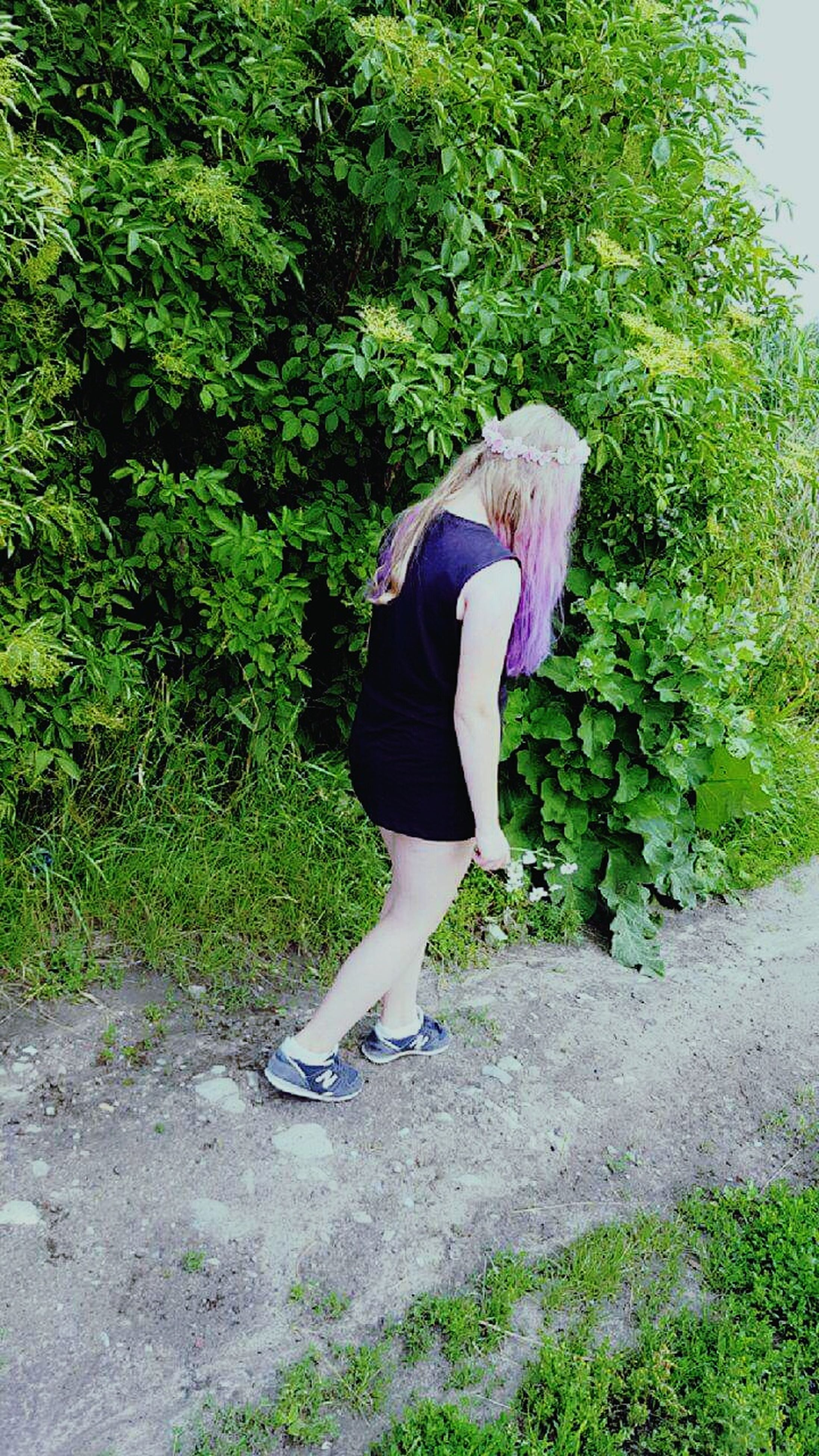 full length, plant, lifestyles, green color, leisure activity, motion, casual clothing, growth, footpath, outdoors, fun, long hair, day, person, young adult, carefree