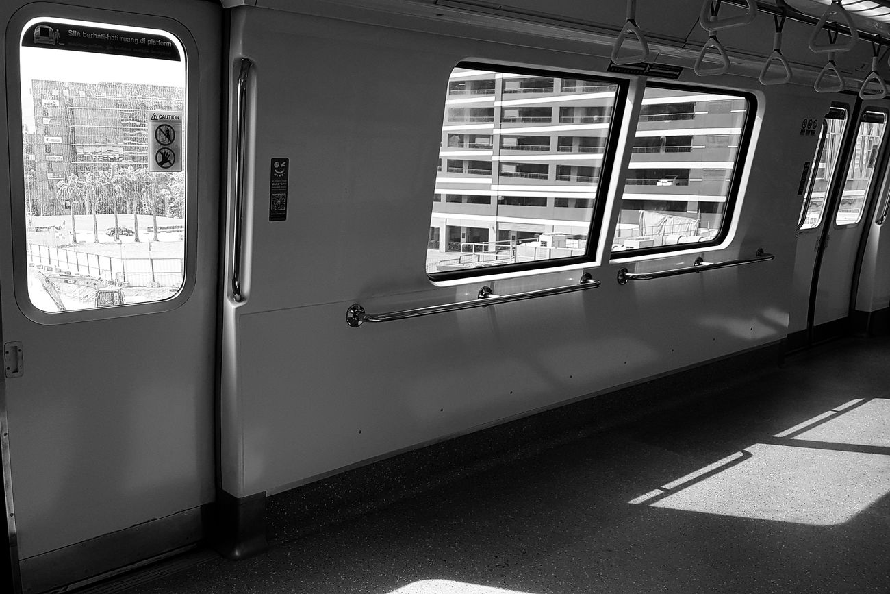 Standing-only cabin Light And Shadow No People On The Move On The Train Windows