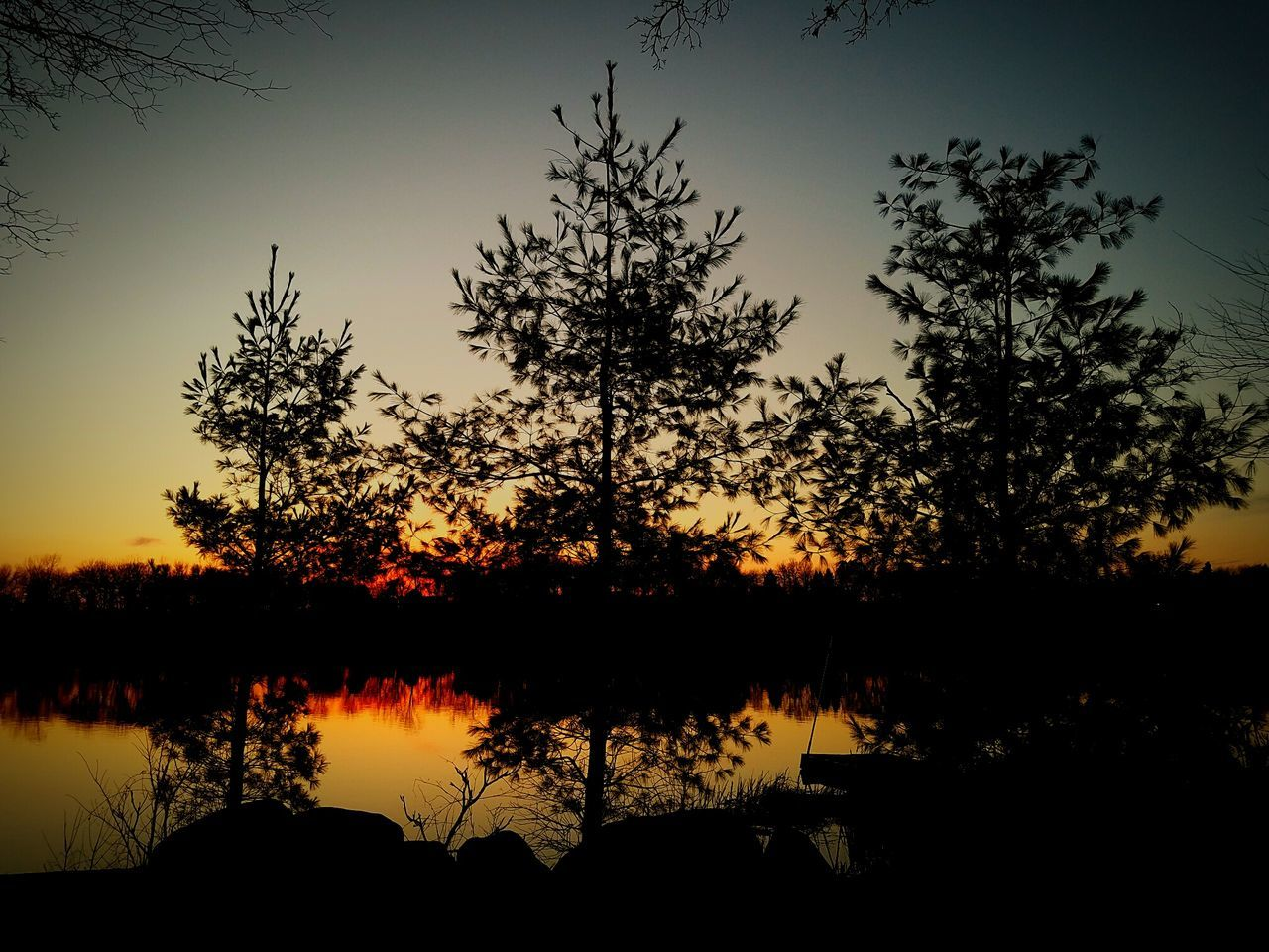Minnesota Sunset Silhouettes Lake Outdoors Sky Landscape Reflection Tranquility Nature Reflection Onthelake Sunset Wideopenspaces Through My Eyes CountryLivinG Grateful Lifeisagift Livelaughlove♡ Sunlight Trails